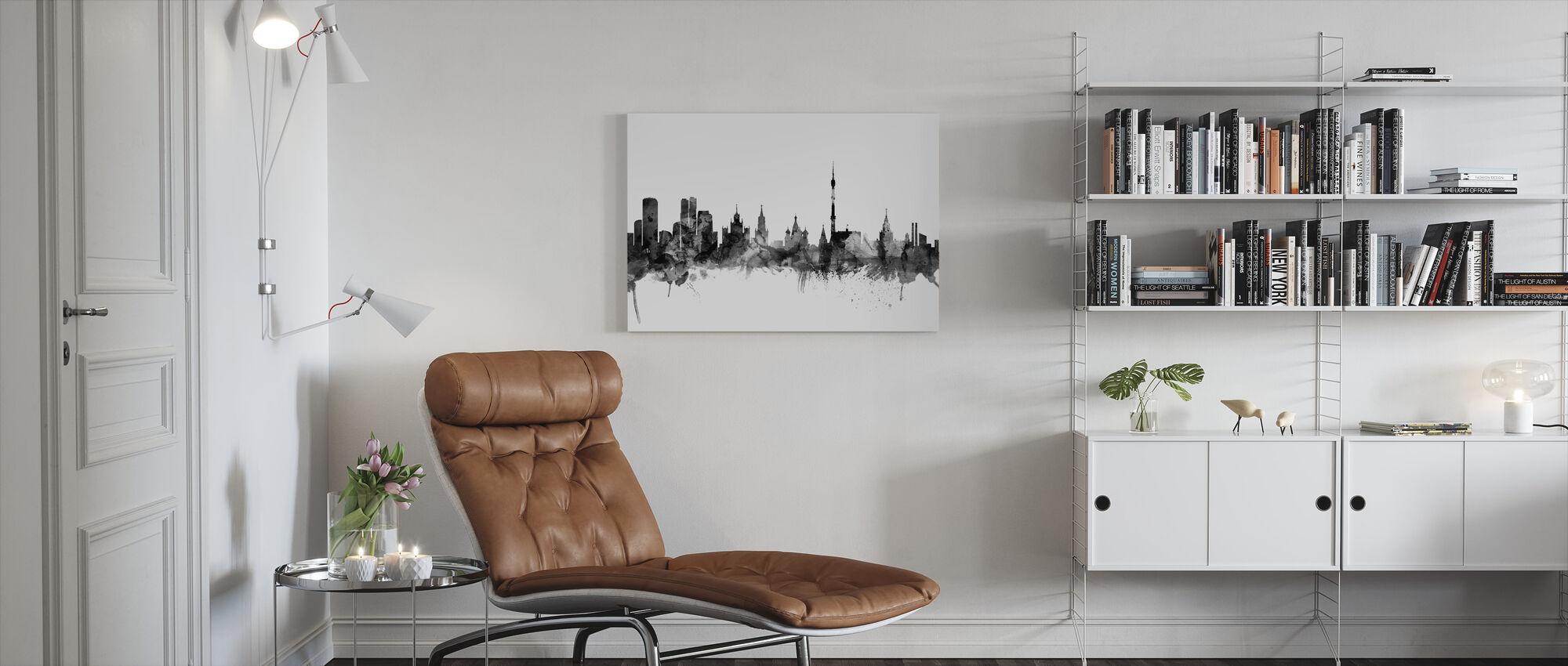 Moscow Skyline Black - Canvas print - Living Room