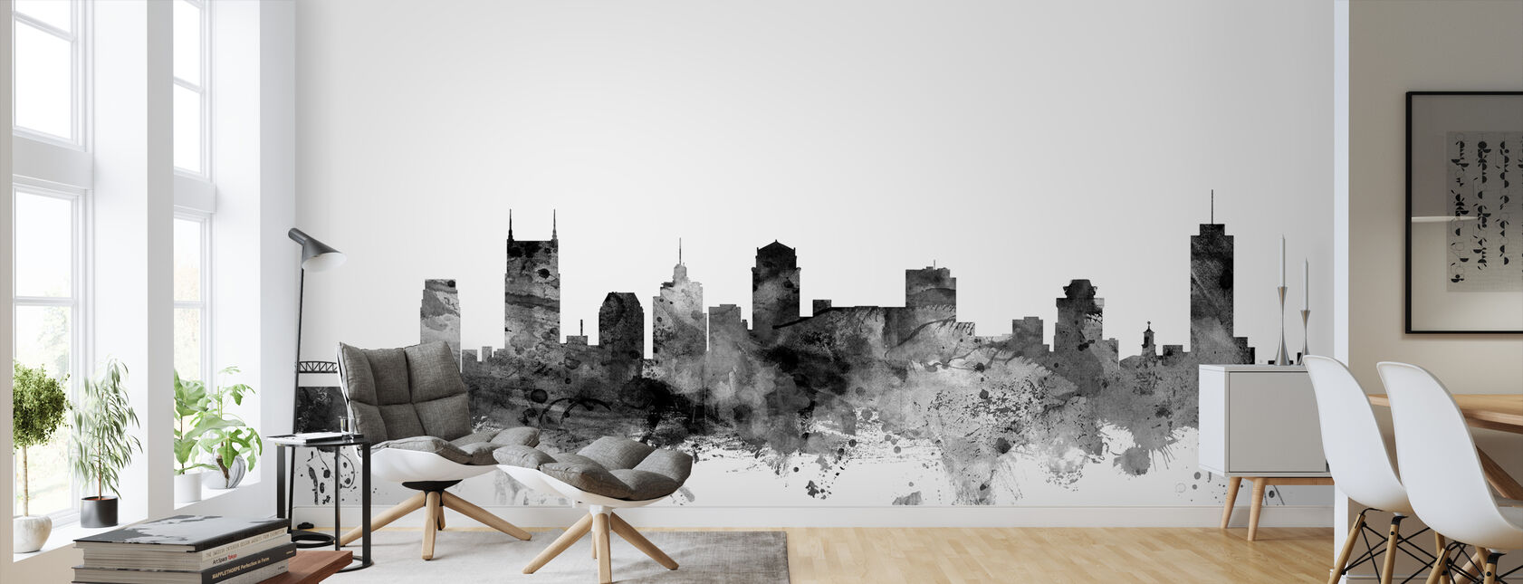 Nashville Tennessee Skyline Black - Wallpaper - Living Room
