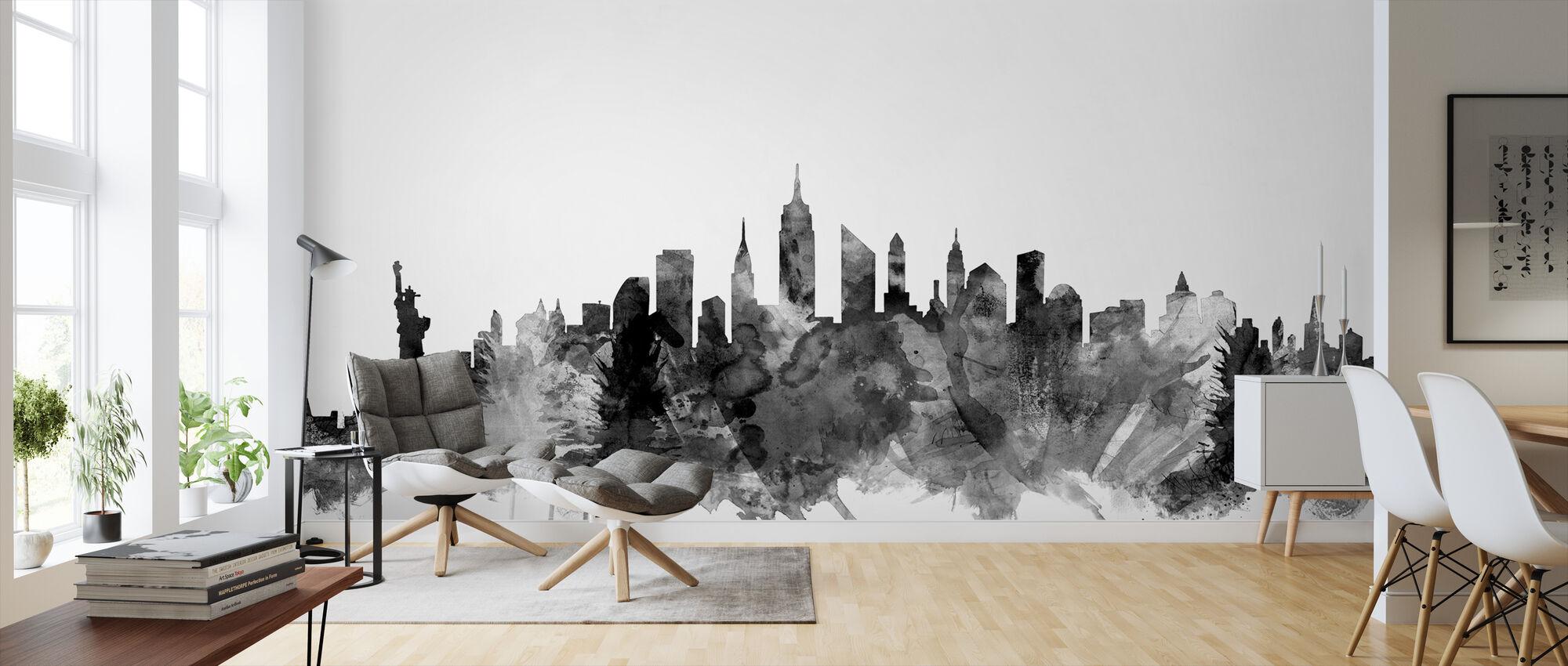 New York City Skyline Black 2 - Wallpaper - Living Room