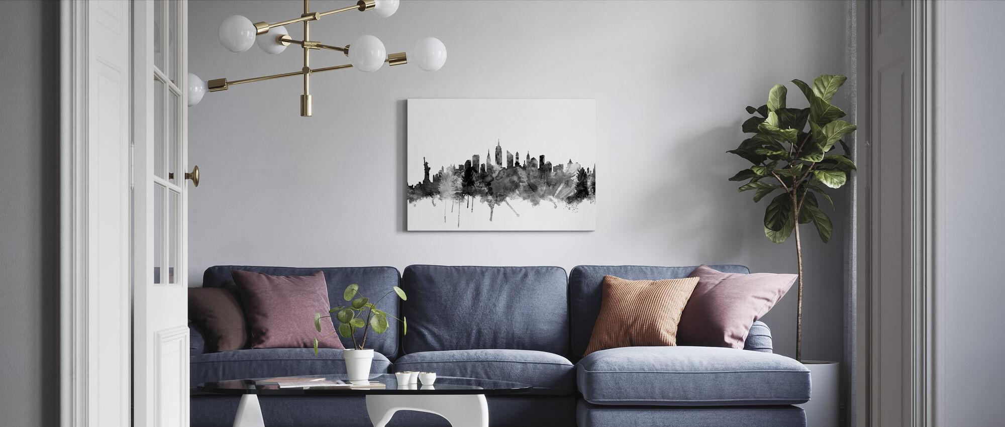 New York Skyline Musta 2 - Canvastaulu - Olohuone