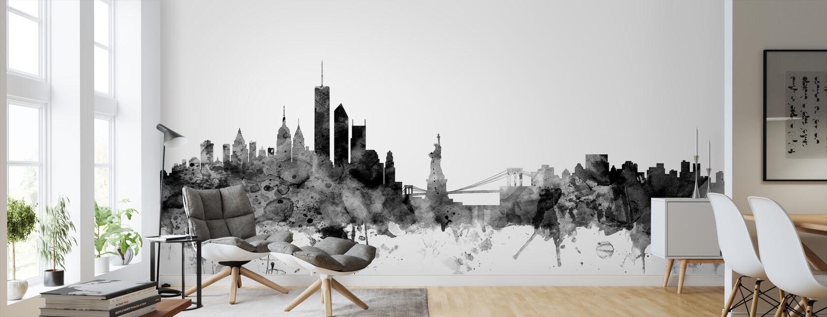 New York Skyline Musta - Tapetti - Olohuone