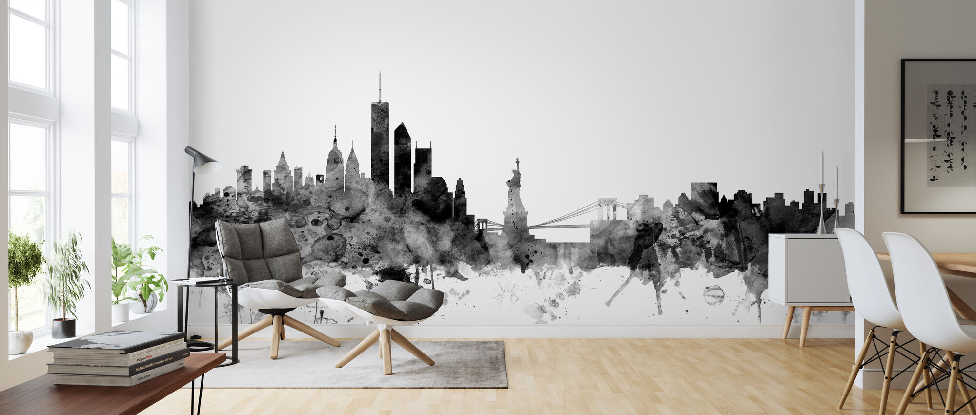 New York Skyline Black - Wallpaper - Living Room