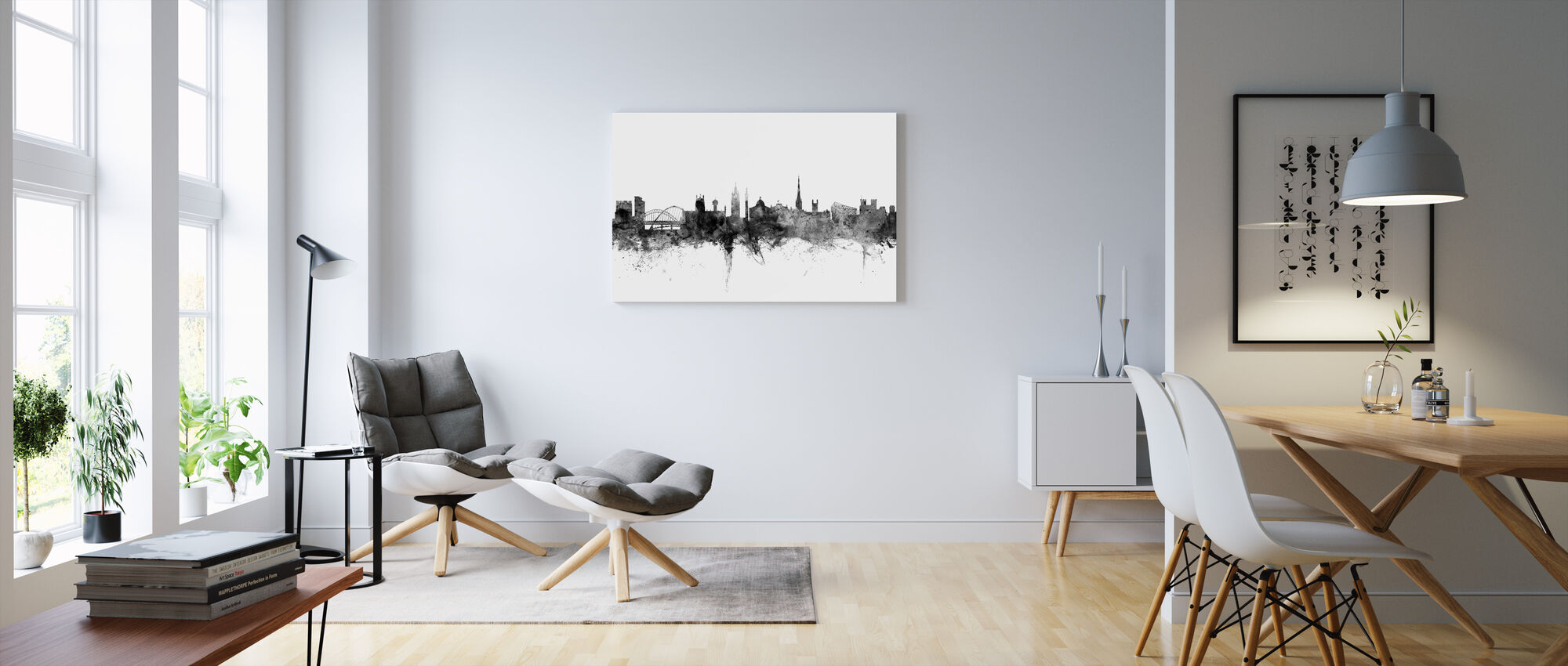 newcastle uk skyline black impression sur toile en ligne pas cher photowall. Black Bedroom Furniture Sets. Home Design Ideas