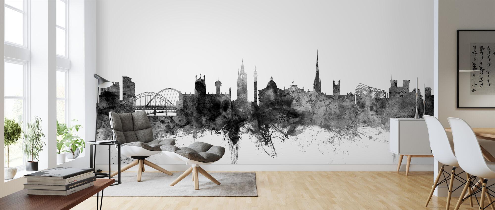Newcastle UK Skyline Black - Wallpaper - Living Room