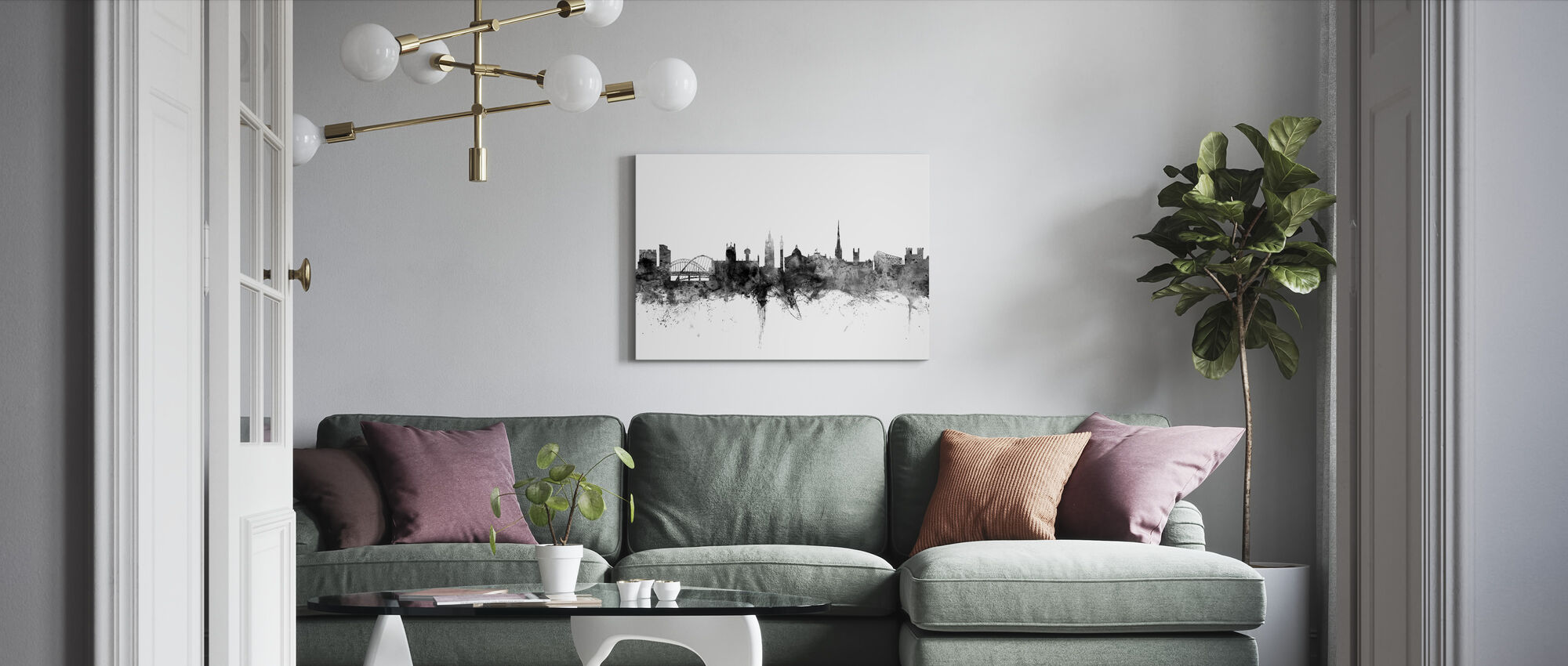 Newcastle UK Skyline Black - Canvas print - Living Room