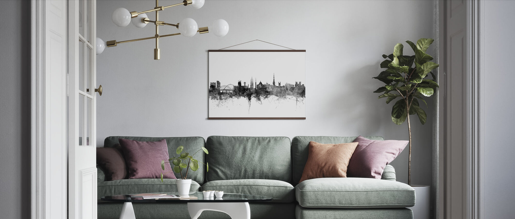 Newcastle UK Skyline svart - Plakat - Stue