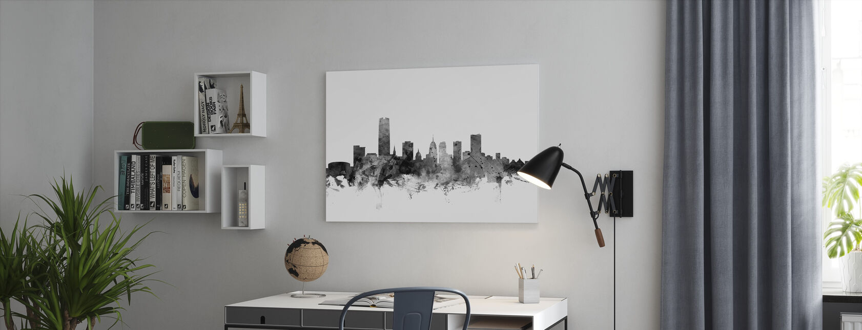 Oklahoma City Skyline Zwart - Canvas print - Kantoor