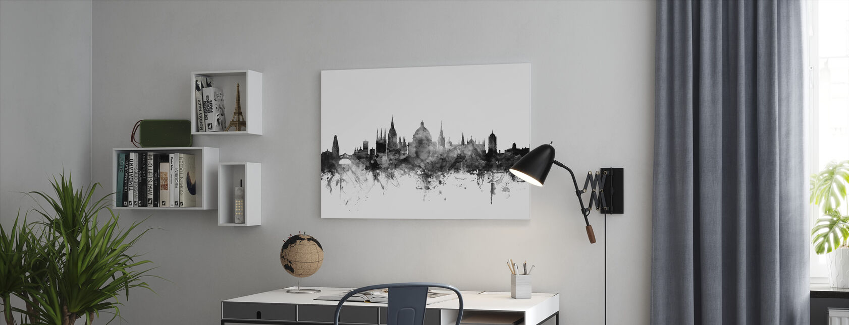 Oxford UK Skyline Zwart - Canvas print - Kantoor