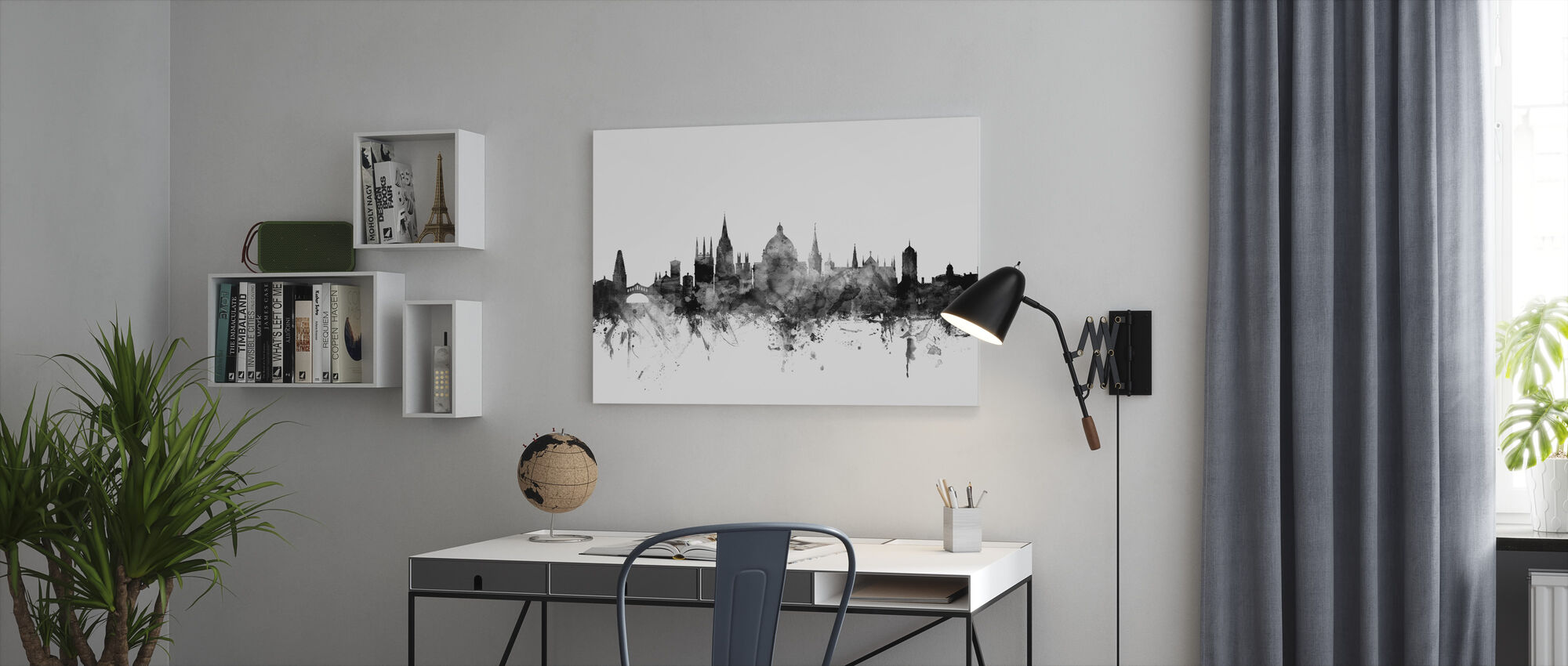 Oxford UK Skyline Black - Canvas print - Office