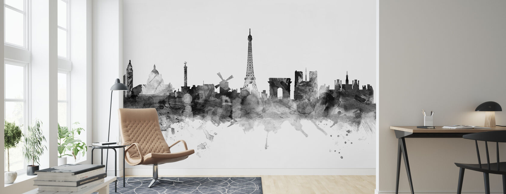 Paris Skyline Noir - Papier peint - Salle à manger