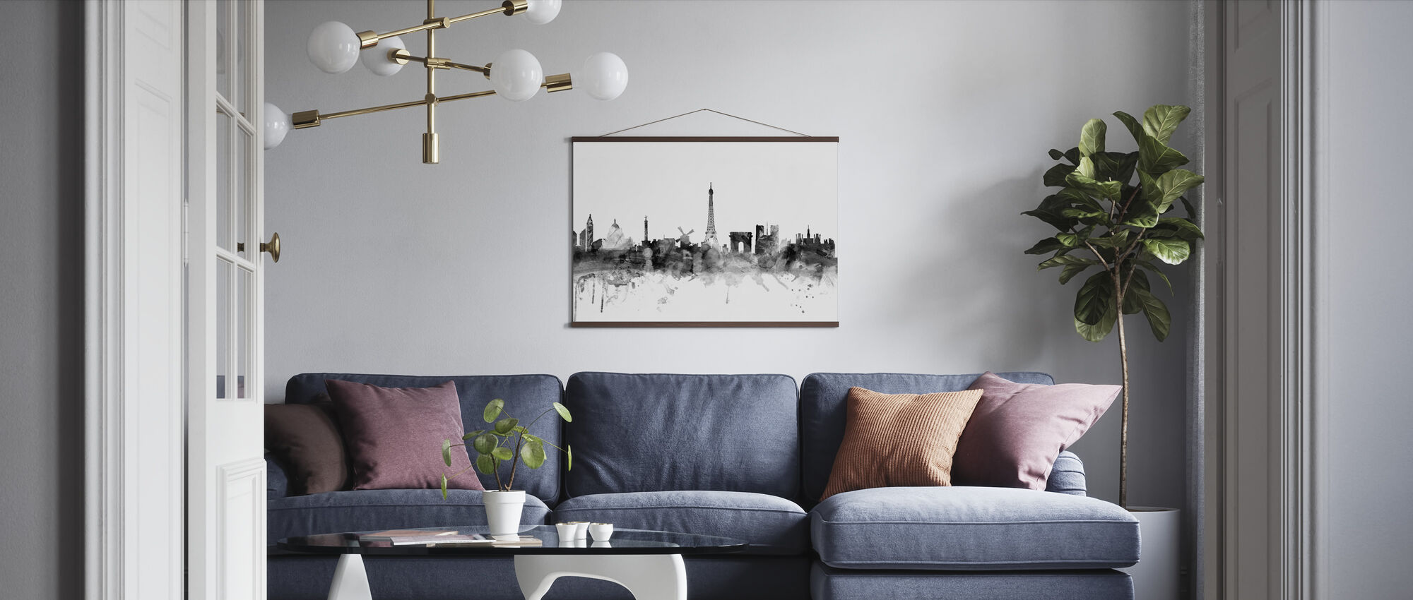 Paris Skyline Svart - Poster - Vardagsrum