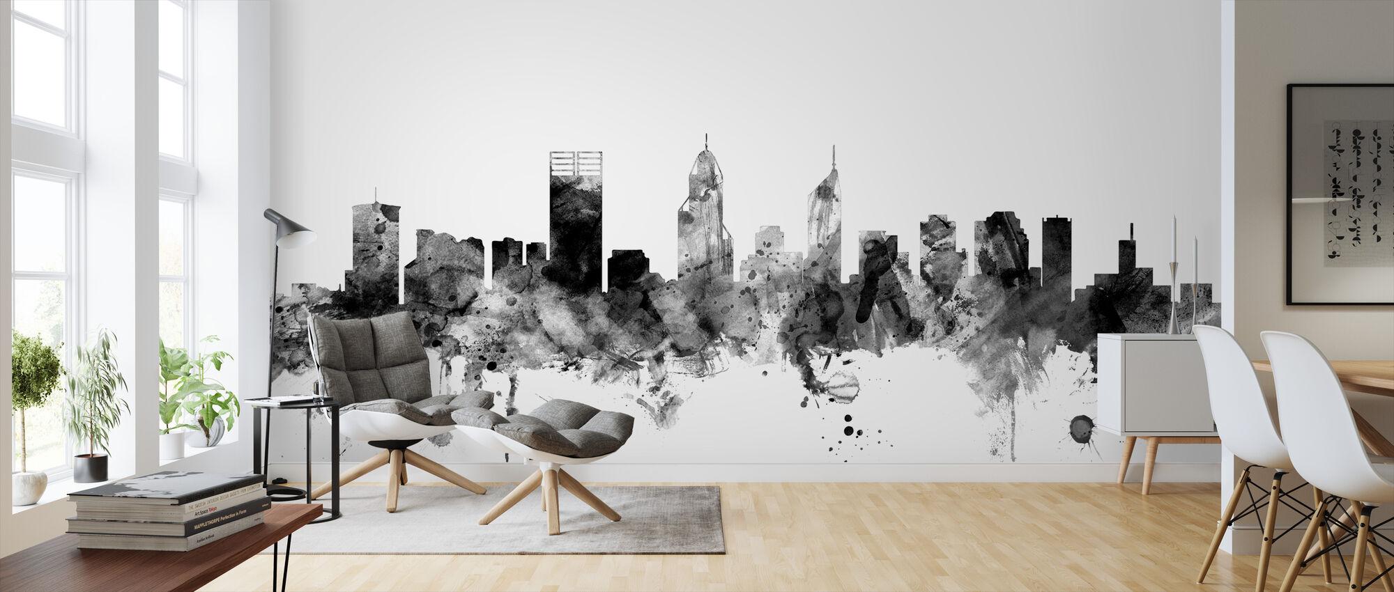 Perth Australia Skyline Black - Wallpaper - Living Room