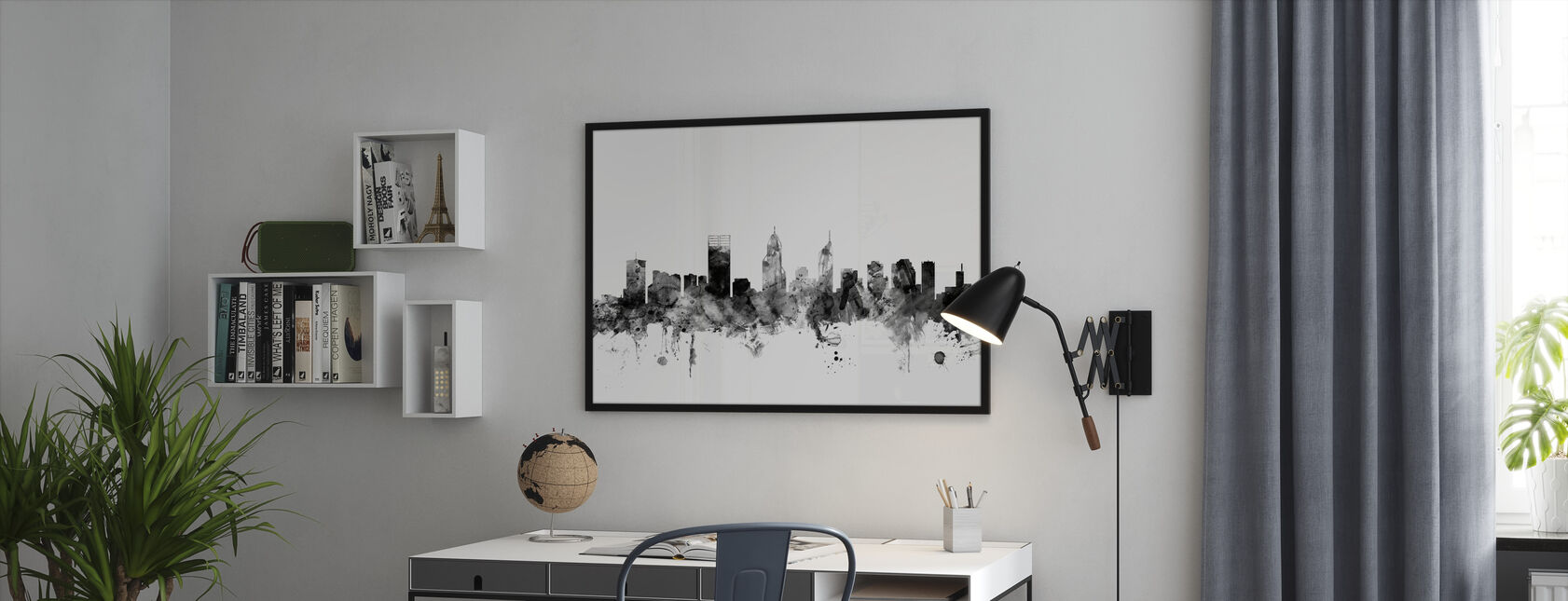 Perth Australia Skyline Black - Framed print - Office