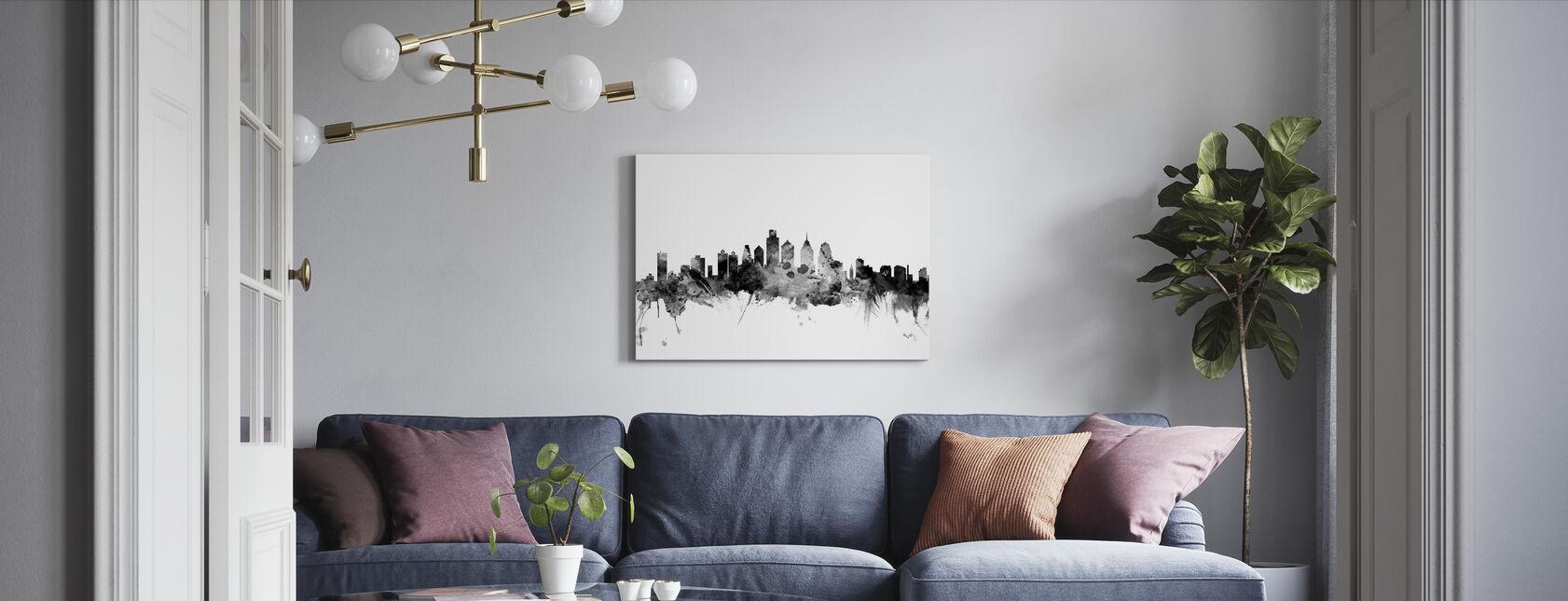Philadelphia Pennsylvania Skyline Black - Canvas print - Living Room