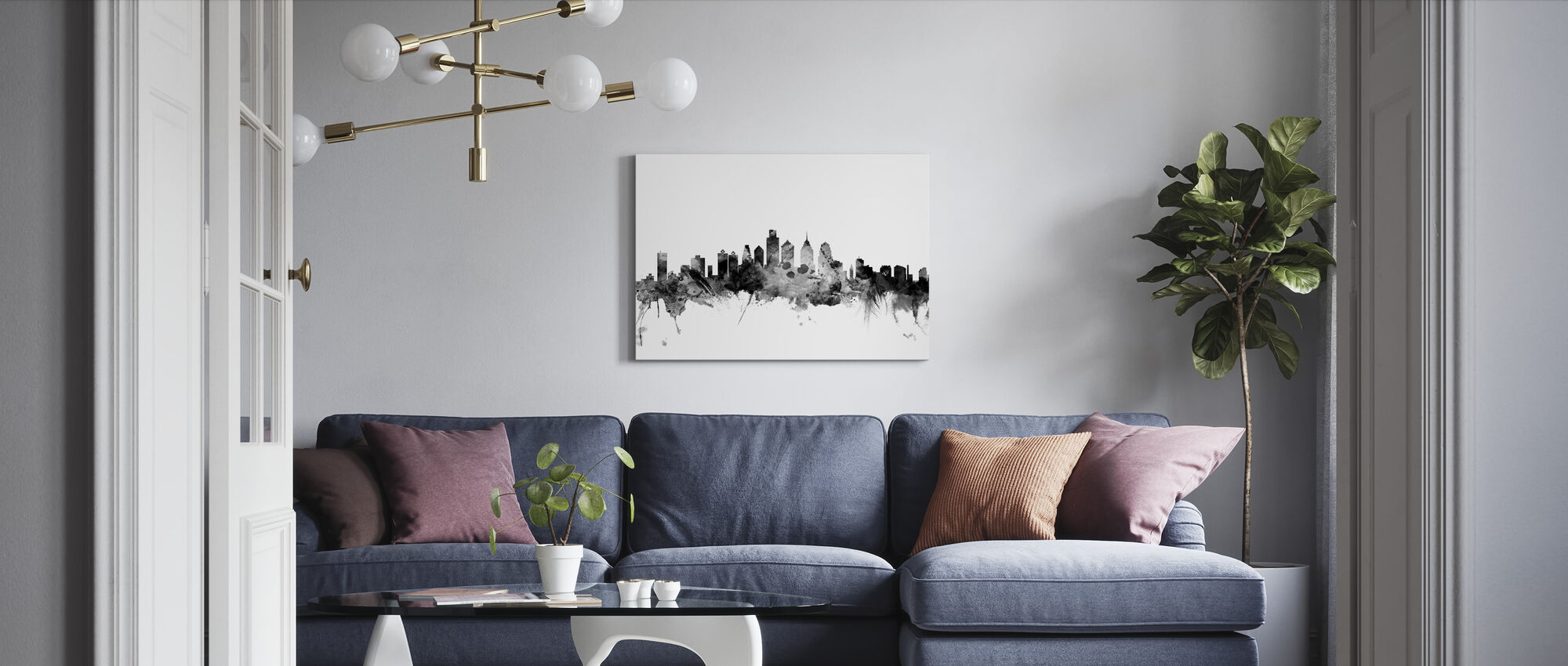 Philadelphia Pennsylvania Skyline Black - Canvas print - Living Room