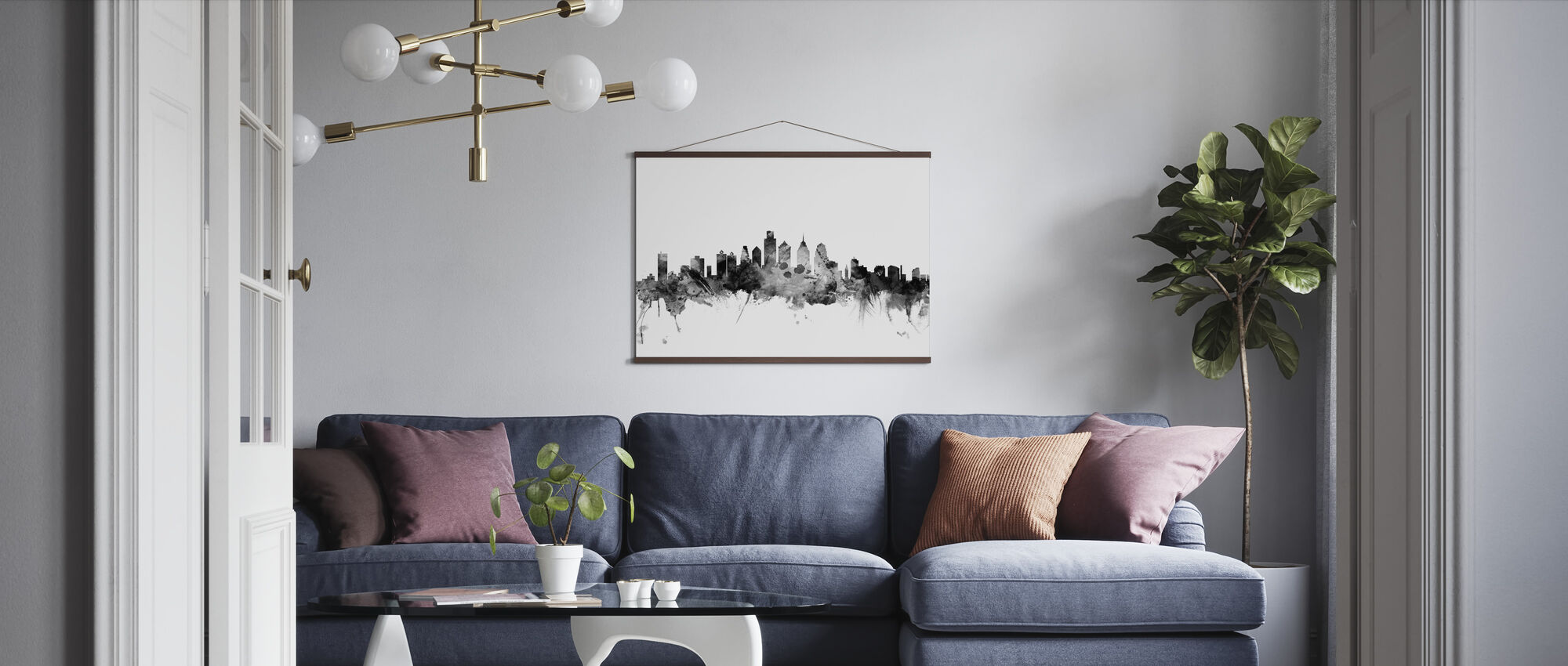Philadelphia Pennsylvania Skyline Black - Poster - Living Room