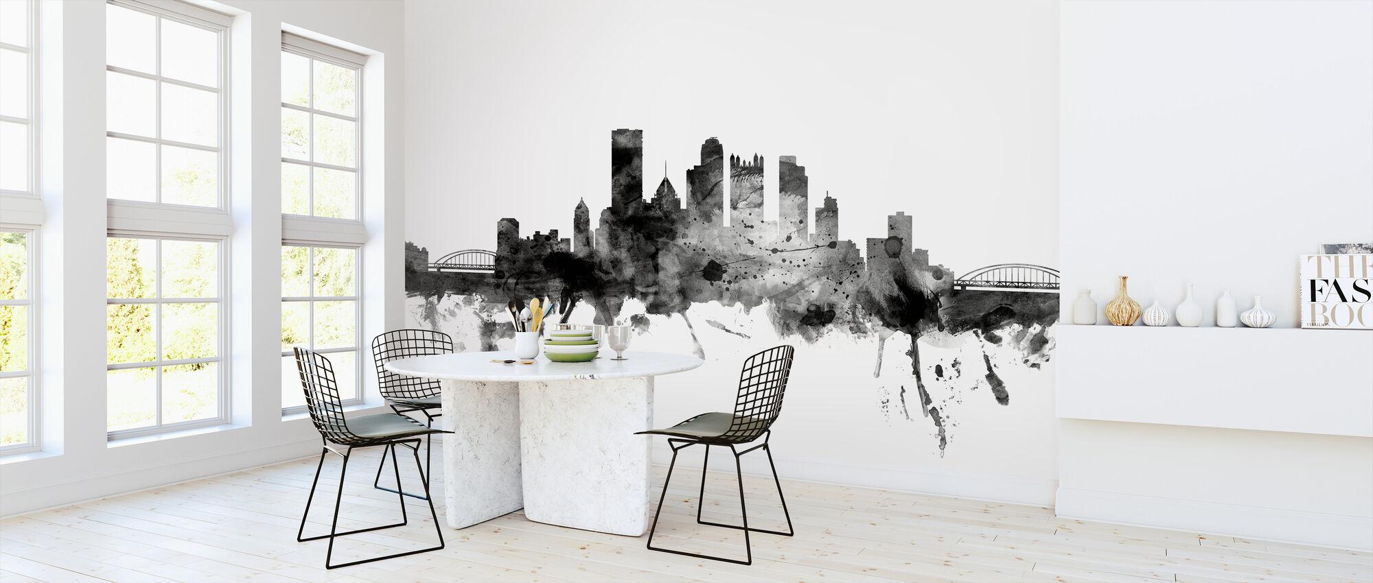 Pittsburgh Pennsylvania Skyline Black - Wallpaper - Kitchen