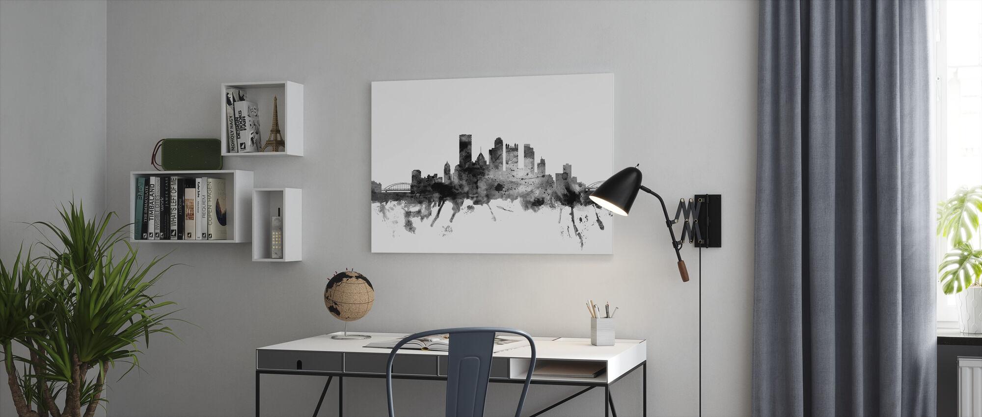 Pittsburgh Pennsylvania Skyline Black - Canvas print - Office