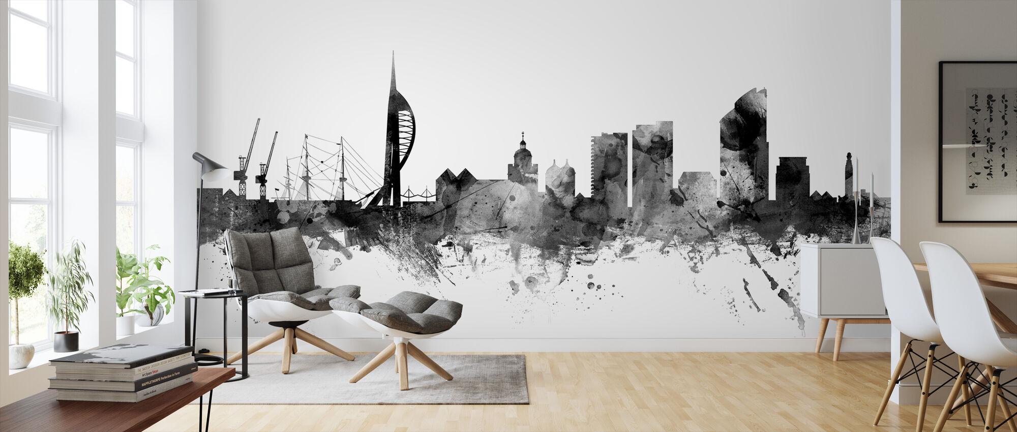 Portsmouth UK Skyline Black - Wallpaper - Living Room