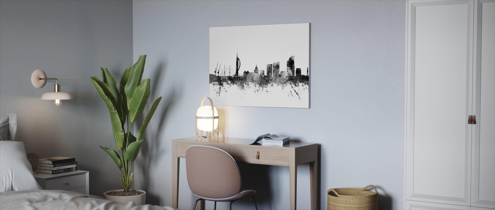 Portsmouth UK Skyline Black - Canvas print - Office