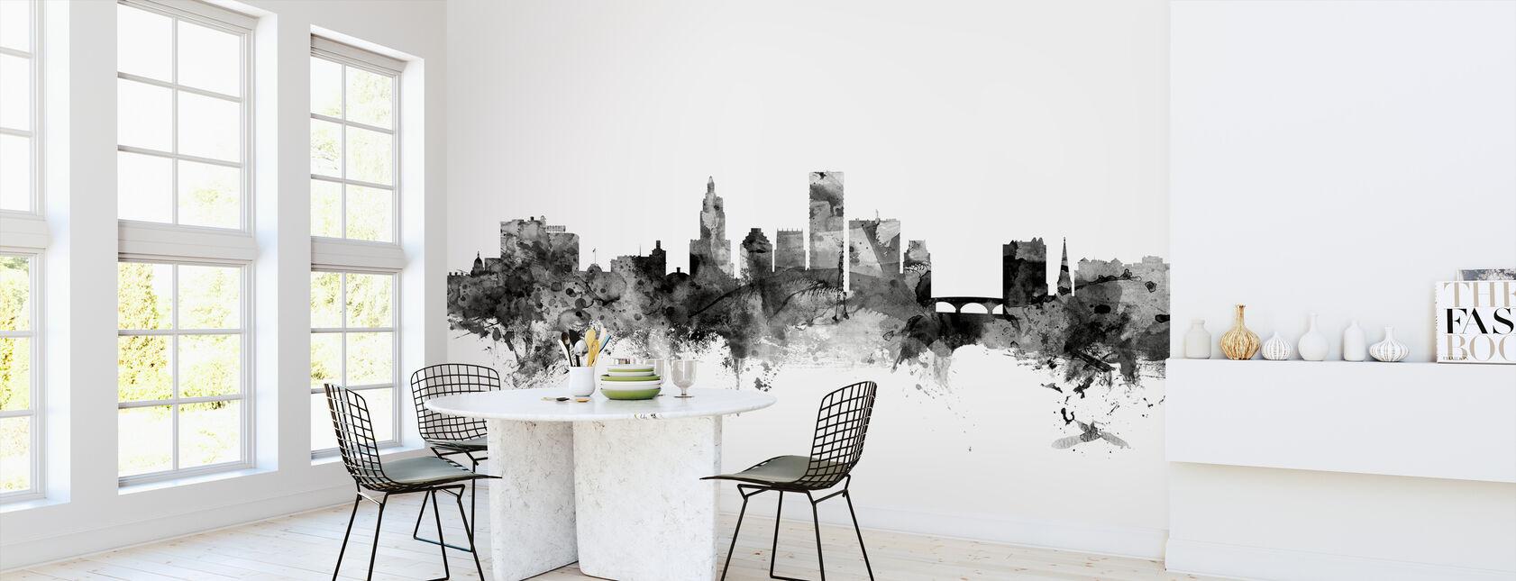 Providence Rhode Island Skyline Black - Wallpaper - Kitchen
