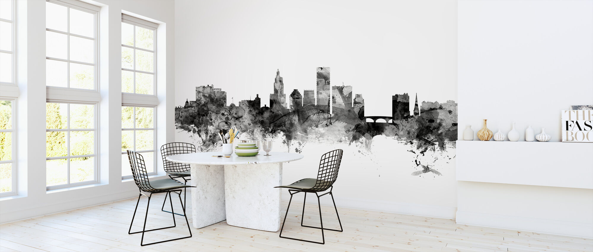 Providence Rhode Island Skyline Black - Wallpaper - Kitchen