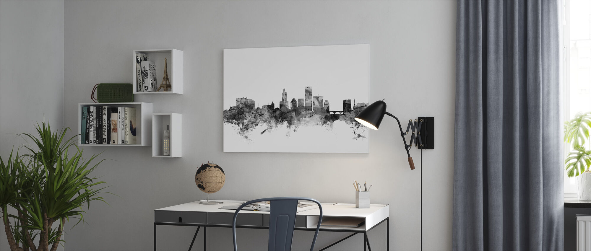 Providence Rhode Island Skyline Black - Canvas print - Office