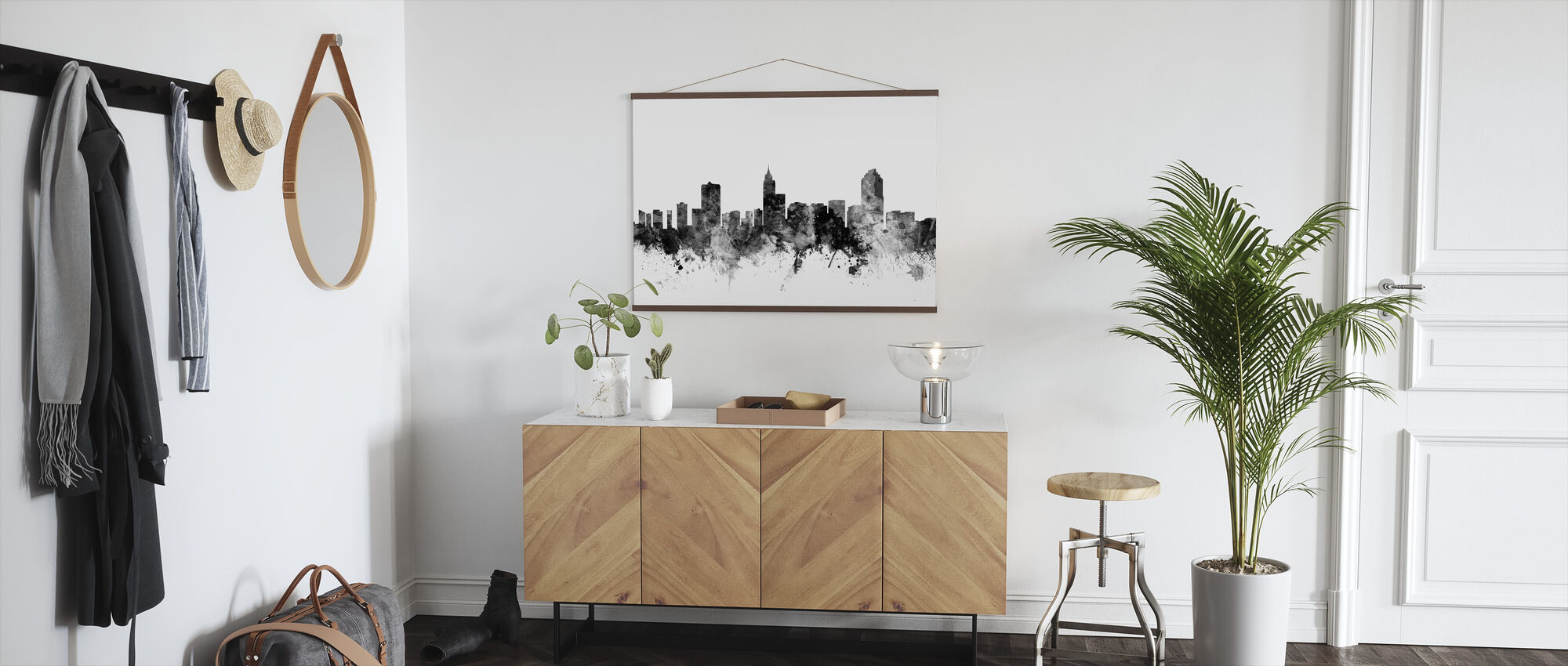 Raleigh North Carolina Skyline Black - Poster - Hallway