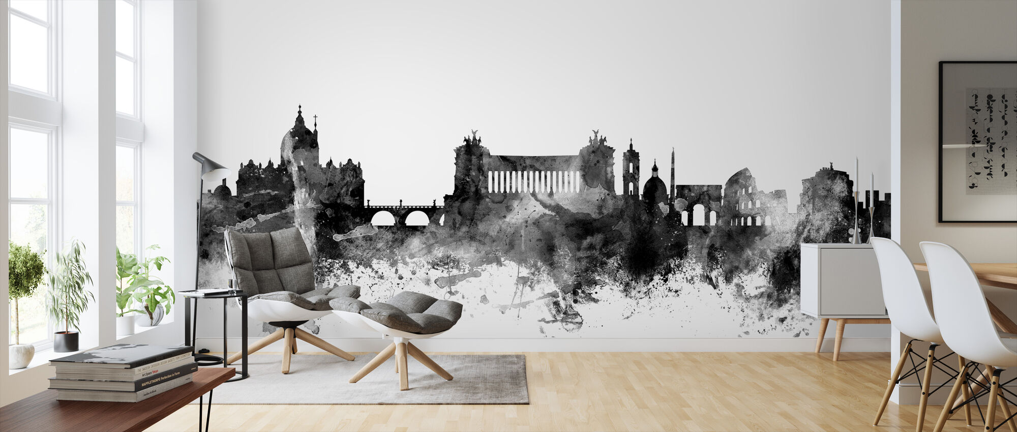 Rome Skyline Black - Wallpaper - Living Room