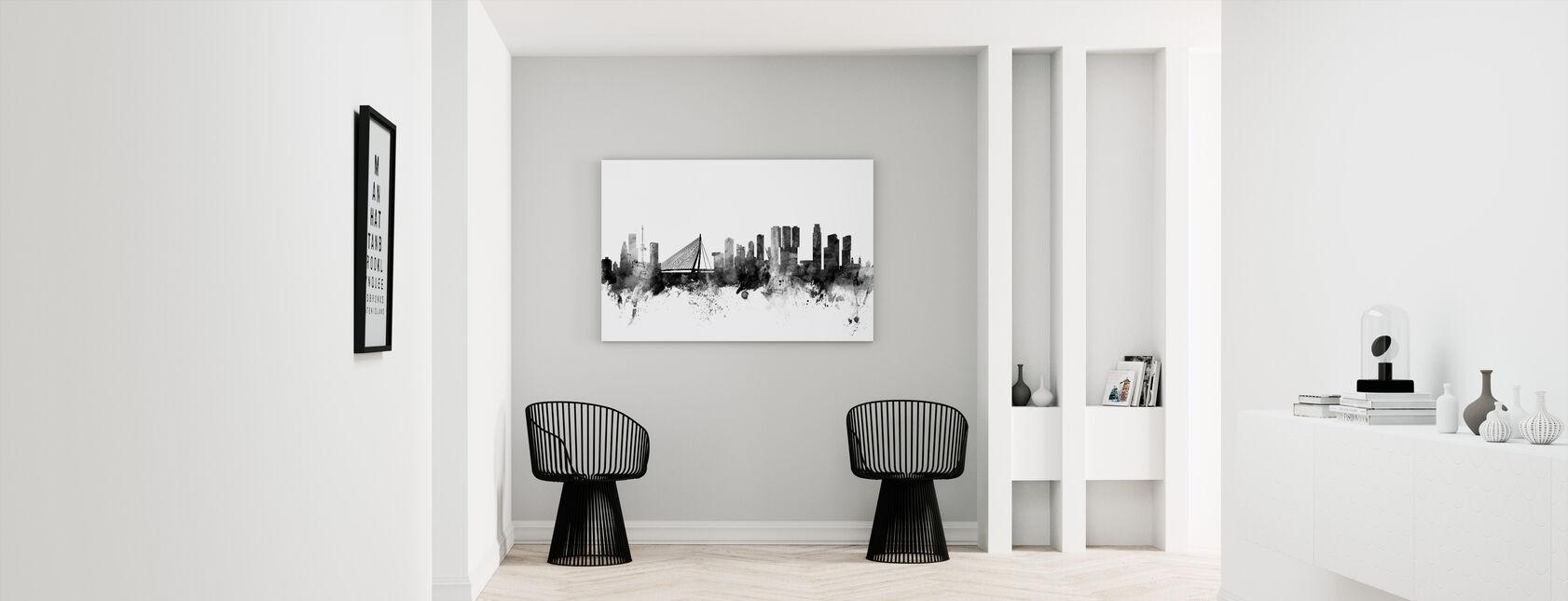 Rotterdam Skyline Zwart - Canvas print - Gang
