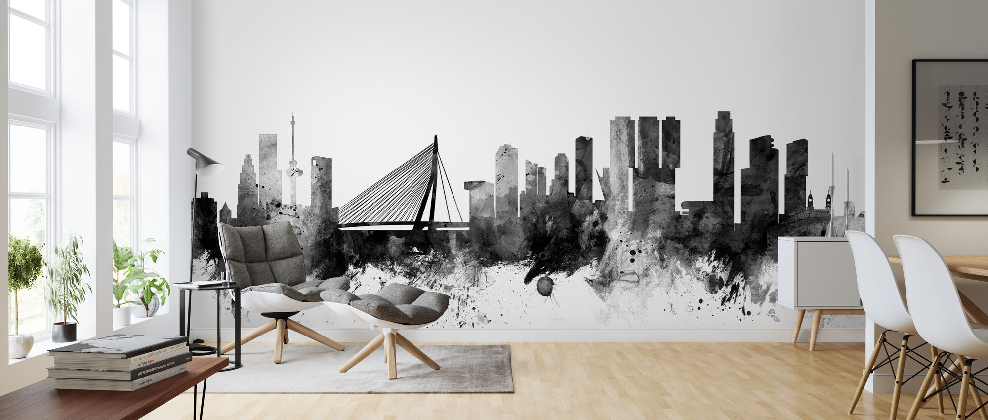 Rotterdam Skyline Black - Wallpaper - Living Room