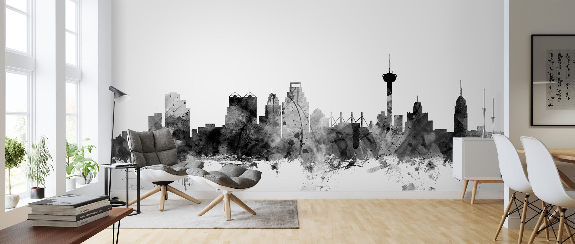 San Antonio Texas Skyline Black - Wallpaper - Living Room