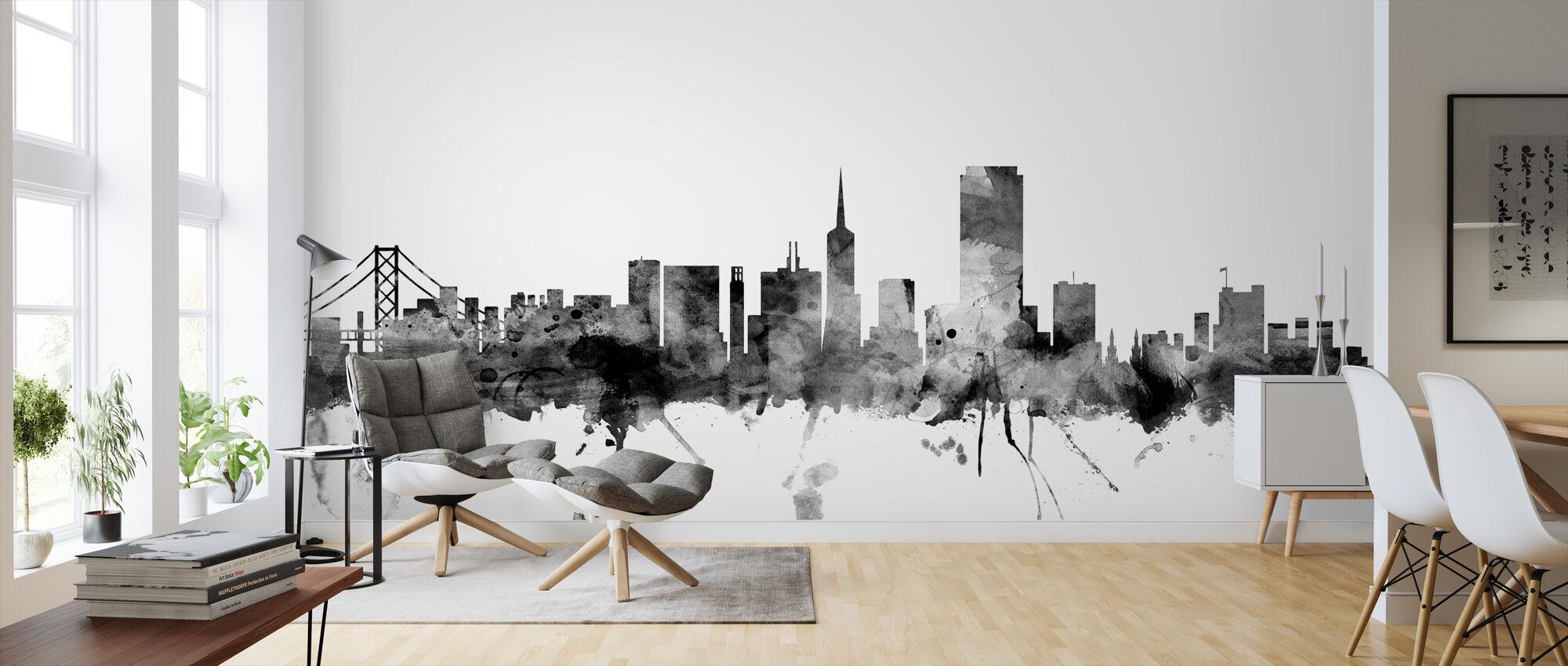San Francisco Skyline Black - Wallpaper - Living Room