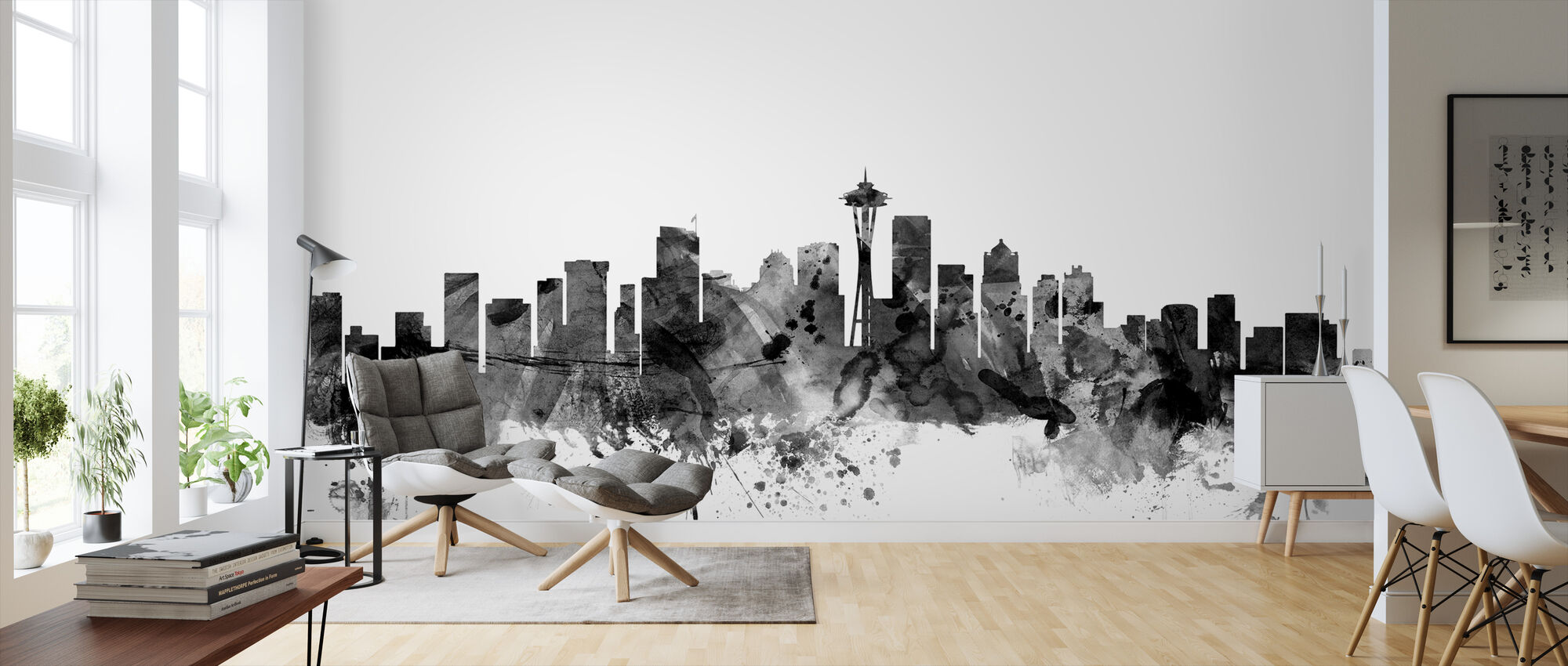 Seattle Skyline Black - Wallpaper - Living Room