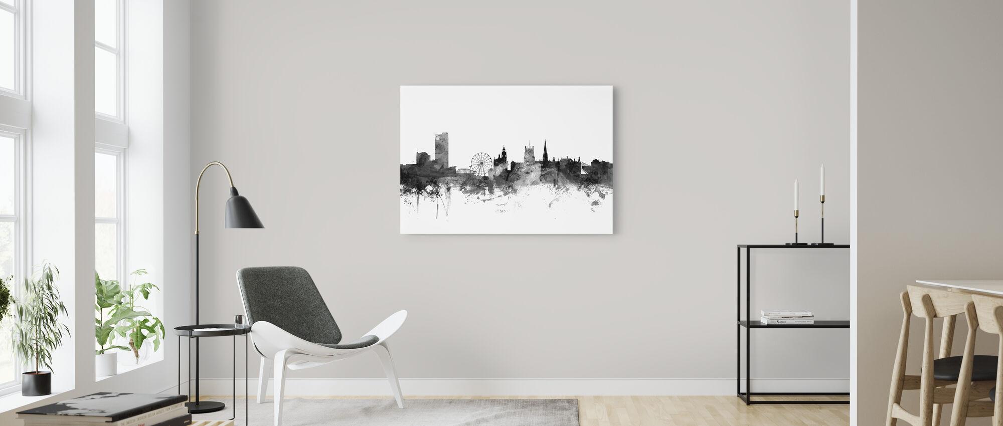 Sheffield UK Skyline Black - Canvas print - Living Room