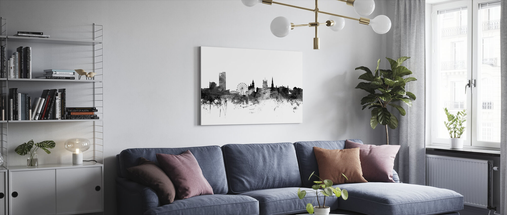 Sheffield UK Skyline Black - Canvas print - Living Room