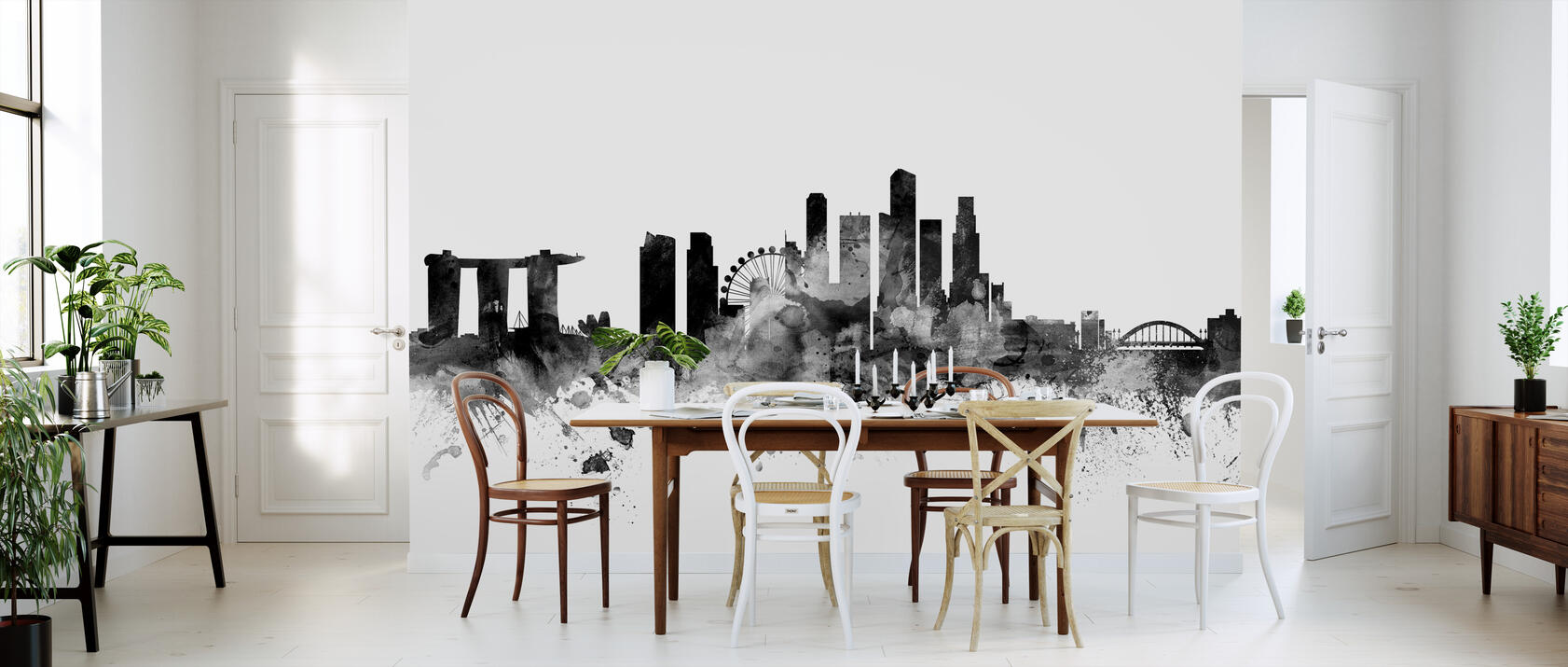 singapore skyline black fototapete nach ma photowall. Black Bedroom Furniture Sets. Home Design Ideas