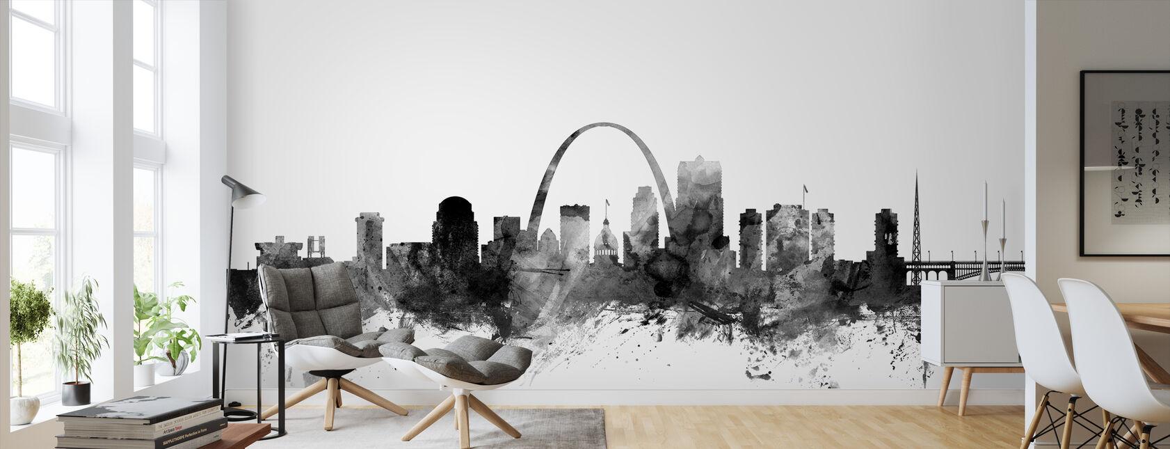 St Louis Missouri Skyline Black - Wallpaper - Living Room