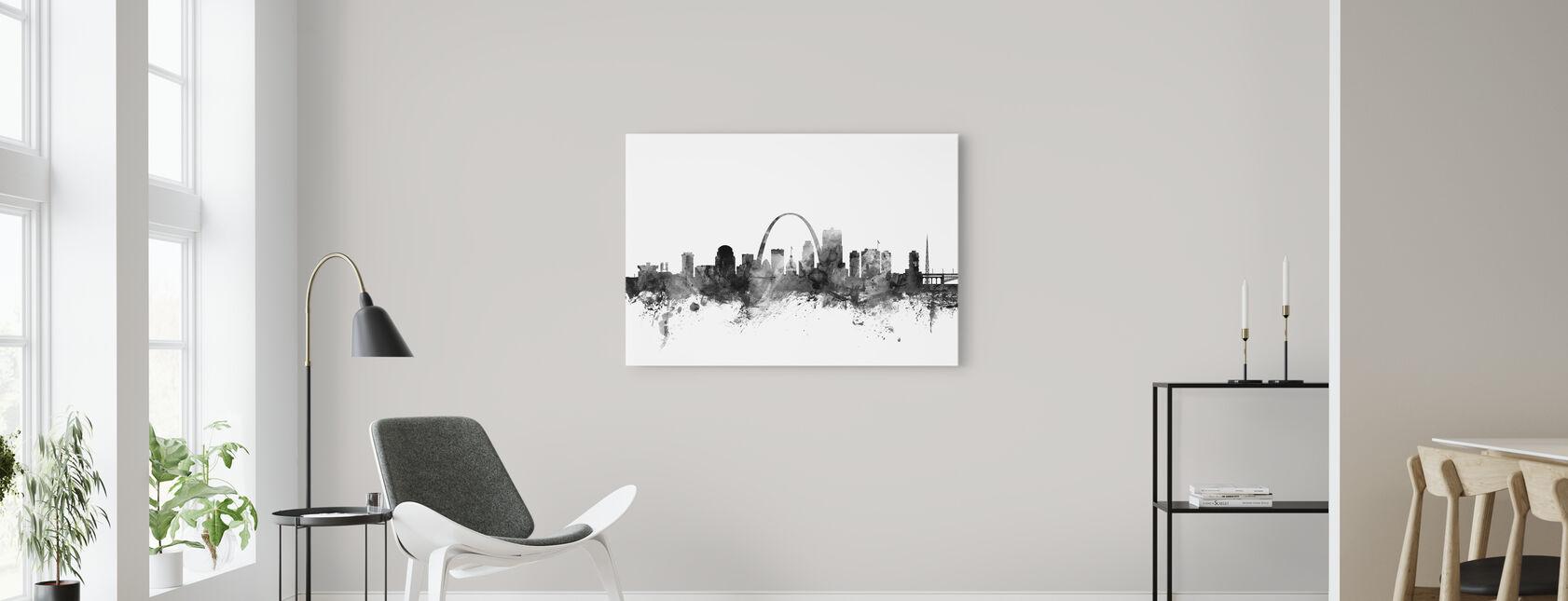 St Louis Missouri Skyline Zwart - Canvas print - Woonkamer