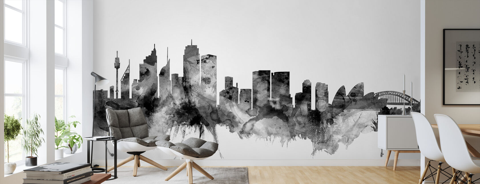 Sydney Australia Skyline Black - Wallpaper - Living Room