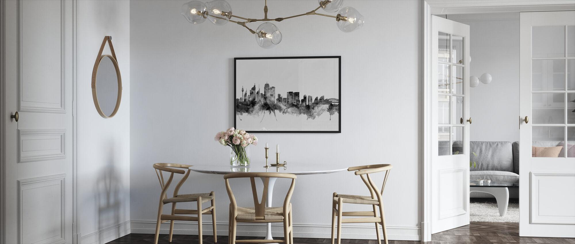 Sydney Australien Skyline Sort - Indrammet billede - Køkken