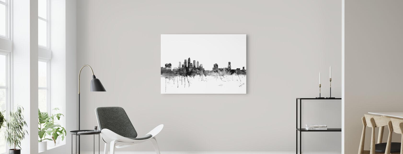 Tampa Florida Skyline Musta - Canvastaulu - Olohuone