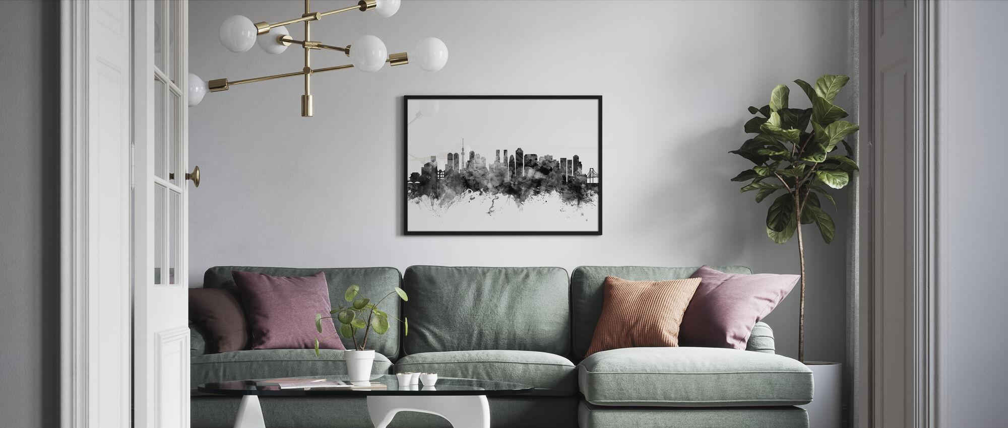 Tokyo Skyline Zwart - Ingelijste print - Woonkamer