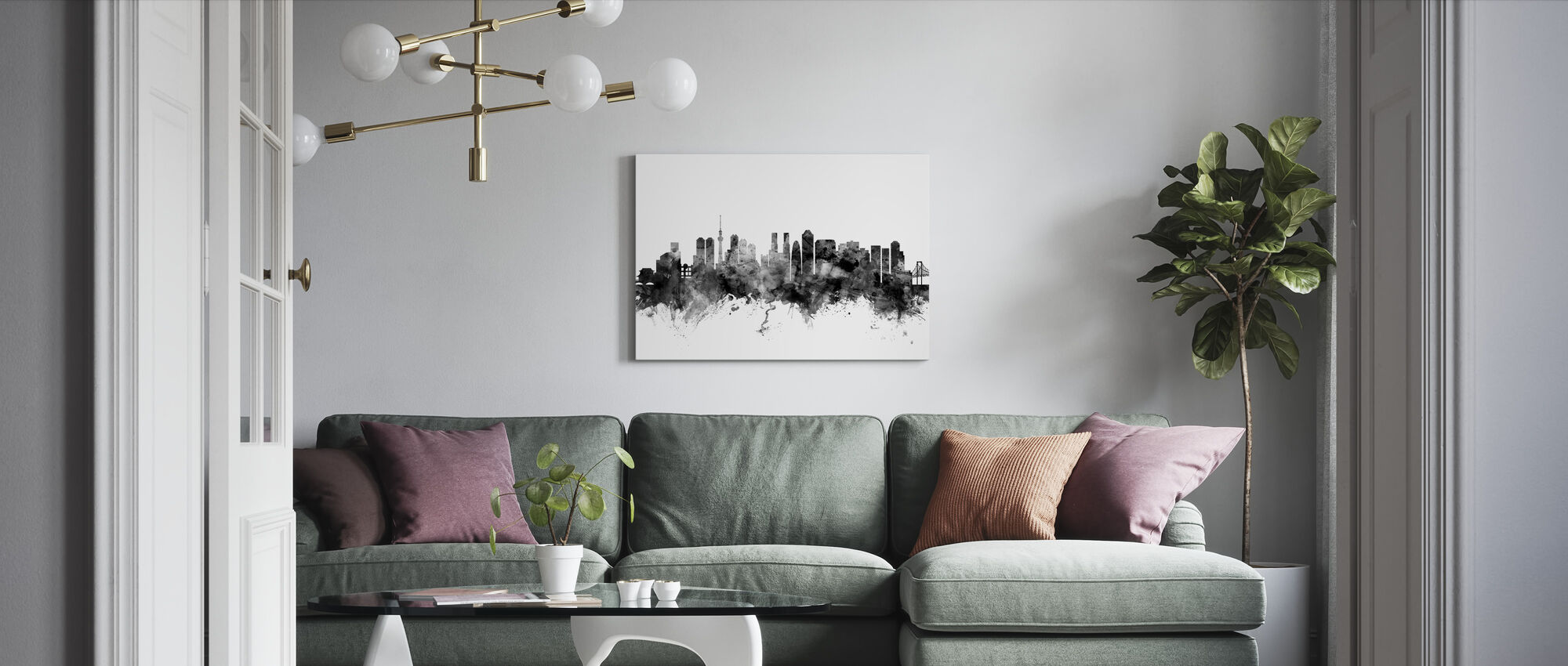Tokyo Skyline Svart - Lerretsbilde - Stue