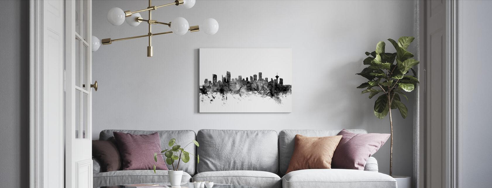 Vancouver Skyline Black - Canvas print - Living Room