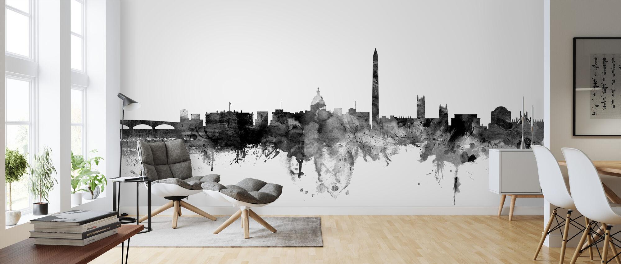 Washington DC Skyline Black - Wallpaper - Living Room
