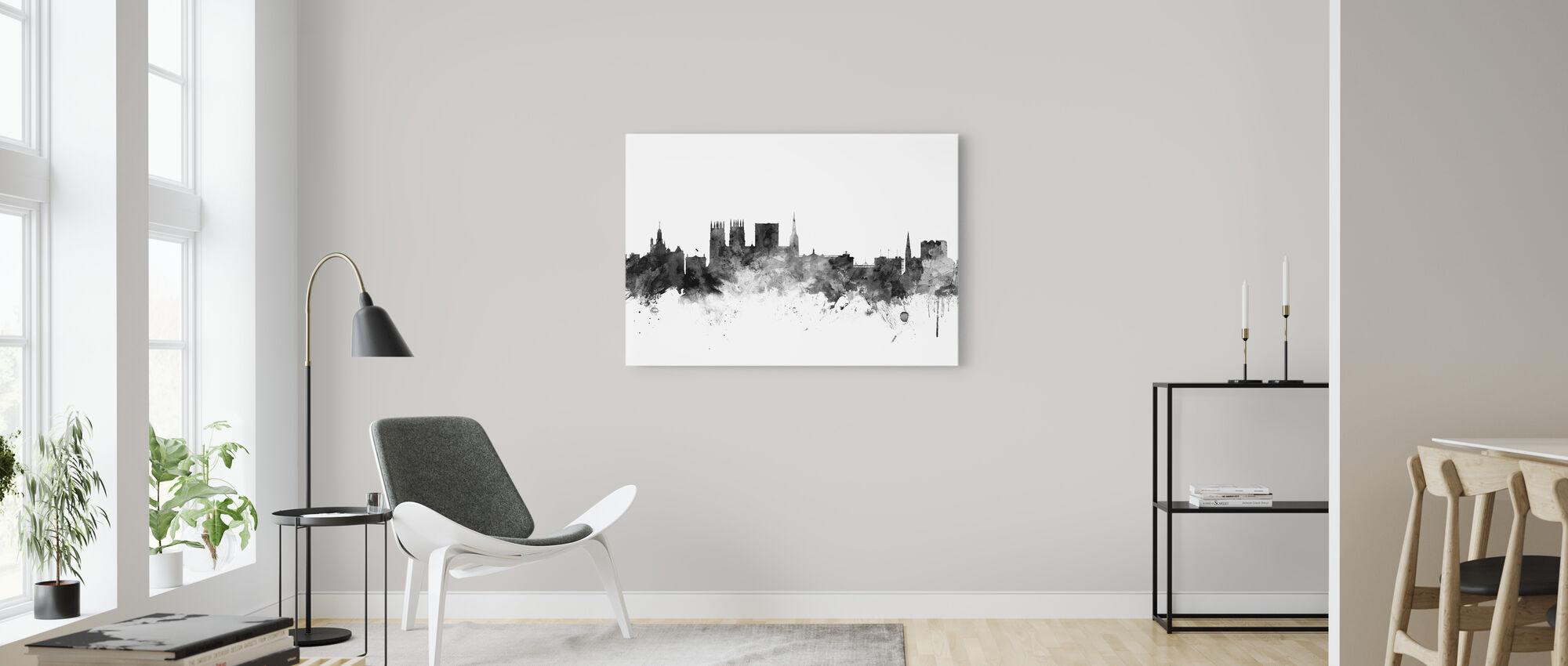 York UK Skyline Black - Canvas print - Living Room