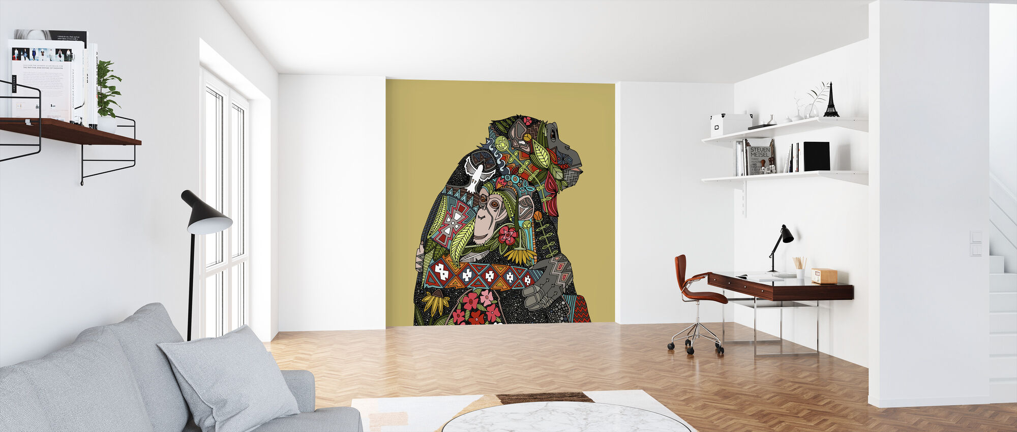 Chimpanzee Love Biscuit - Wallpaper - Office