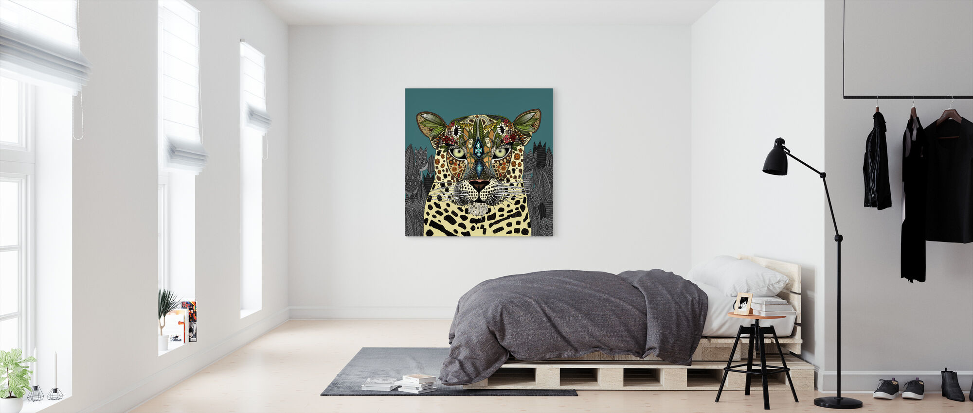 Leopard Queen Teal - Canvas print - Bedroom