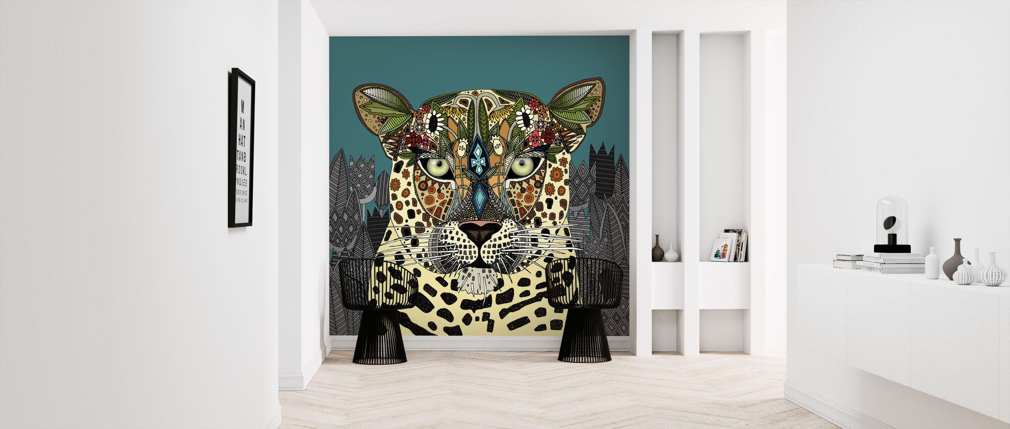 Luipaard Koningin Teal - Behang - Gang